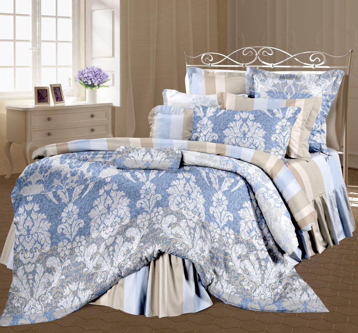 Комплект белья Романтика Александрия, семейный, наволочки 70 x 70, цвет: голубой. 325269325269
