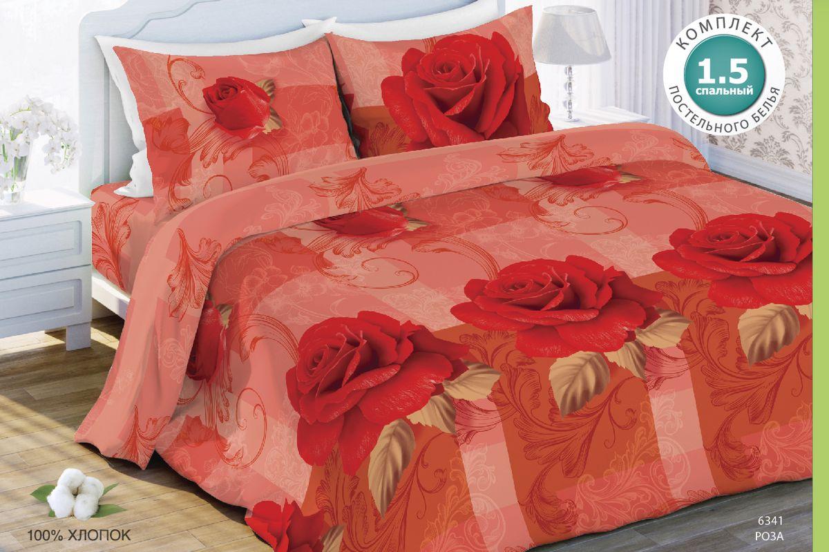 Комплект белья Любимый дом Роза, семейный, наволочки 70 x 70, цвет: красный. 327669327669