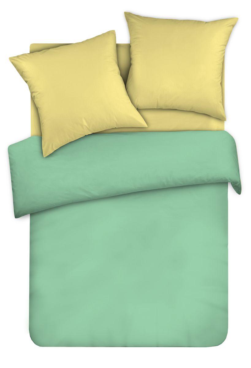 Комплект белья Унисон Мятный вечер, евро, наволочки 70 x 70, цвет: бирюзовый. 335762335762