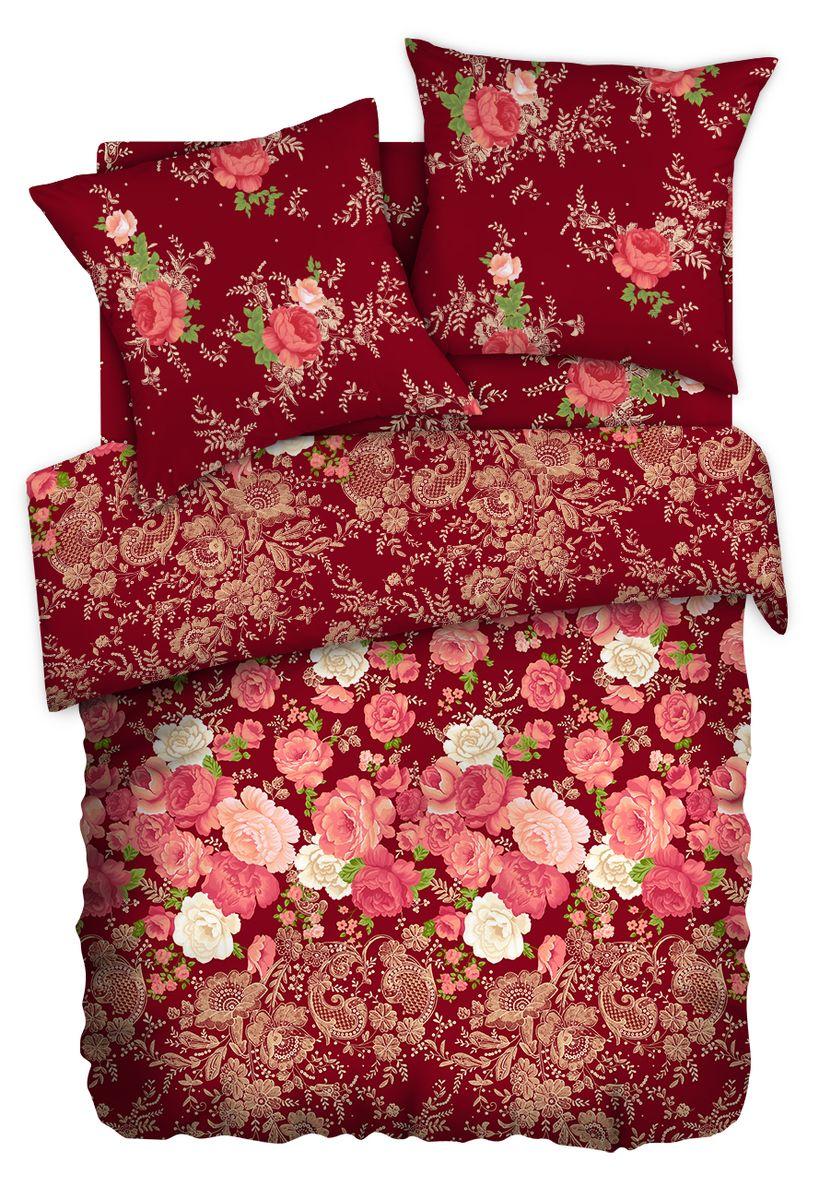 Комплект белья Любимый дом Хохлома, евро, наволочки 70 x 70, цвет: бордовый. 336701336701