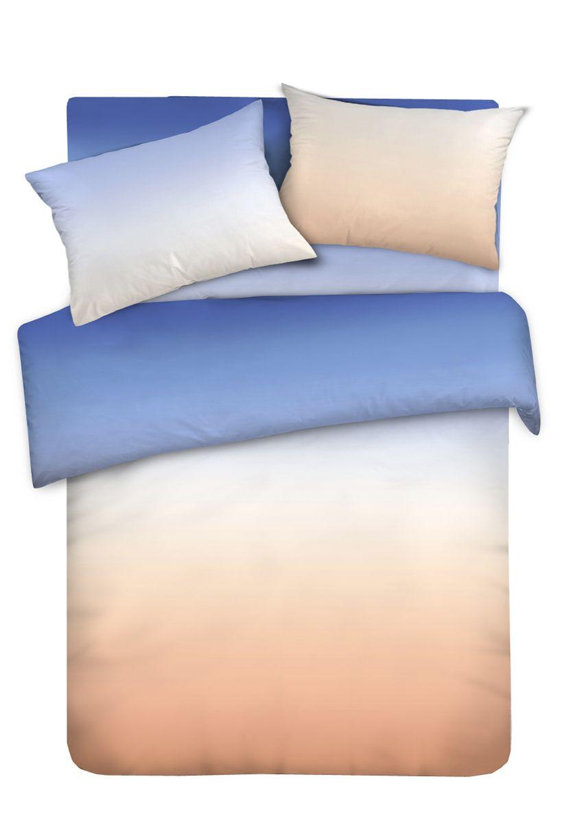 Комплект белья Унисон Сливочная карамель, семейный, наволочки 70 x 70, цвет: синий. 338630338630
