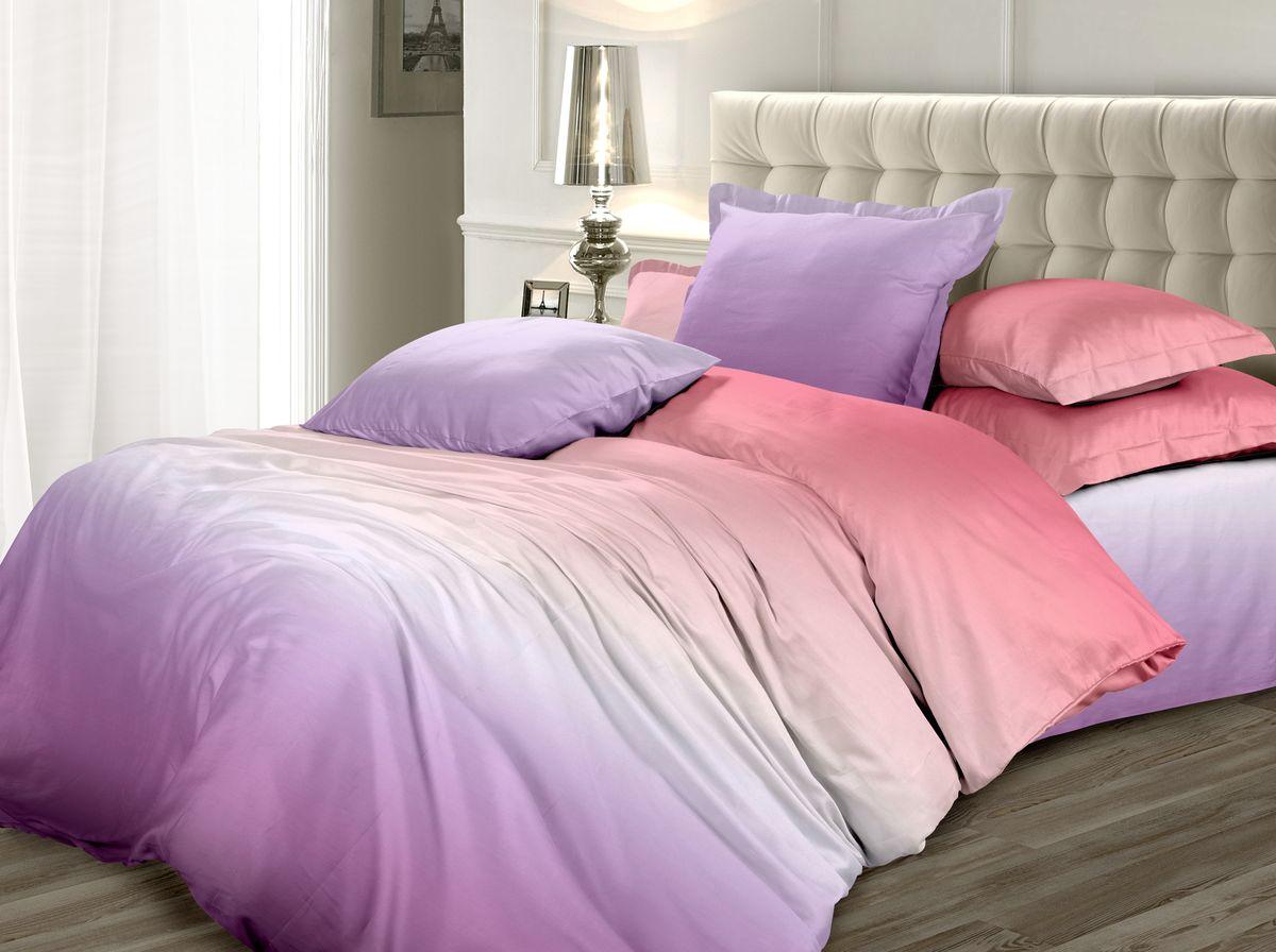 Комплект белья Унисон Розовый Ирис, евро, наволочки 70 x 70, цвет: сиреневый. 338634338634