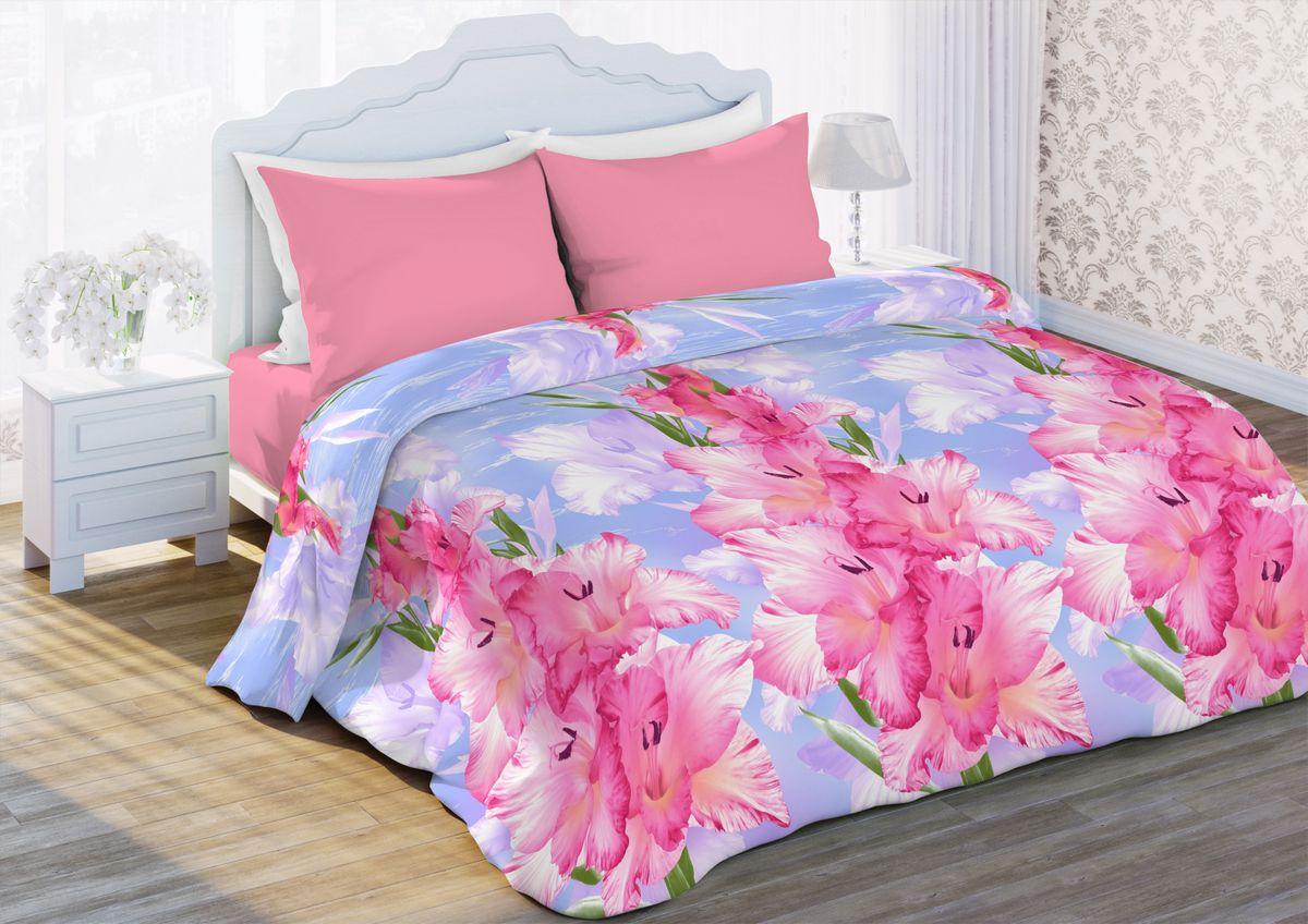 Комплект белья Любимый дом Гладиолусы, семейный, наволочки 70 x 70, цвет: розовый. 341363341363