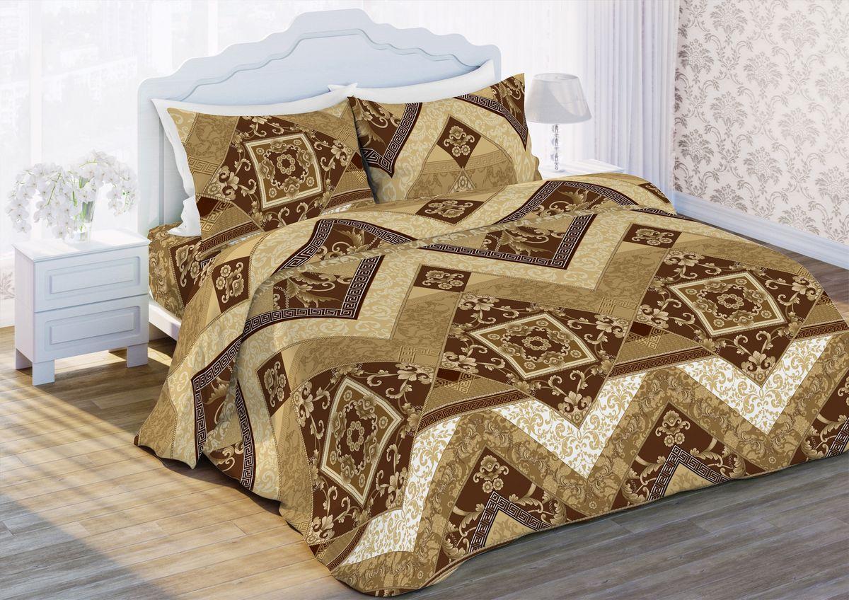 Комплект белья Любимый дом Орнамент, семейный, наволочки 70 x 70, цвет: коричневый. 345541345541