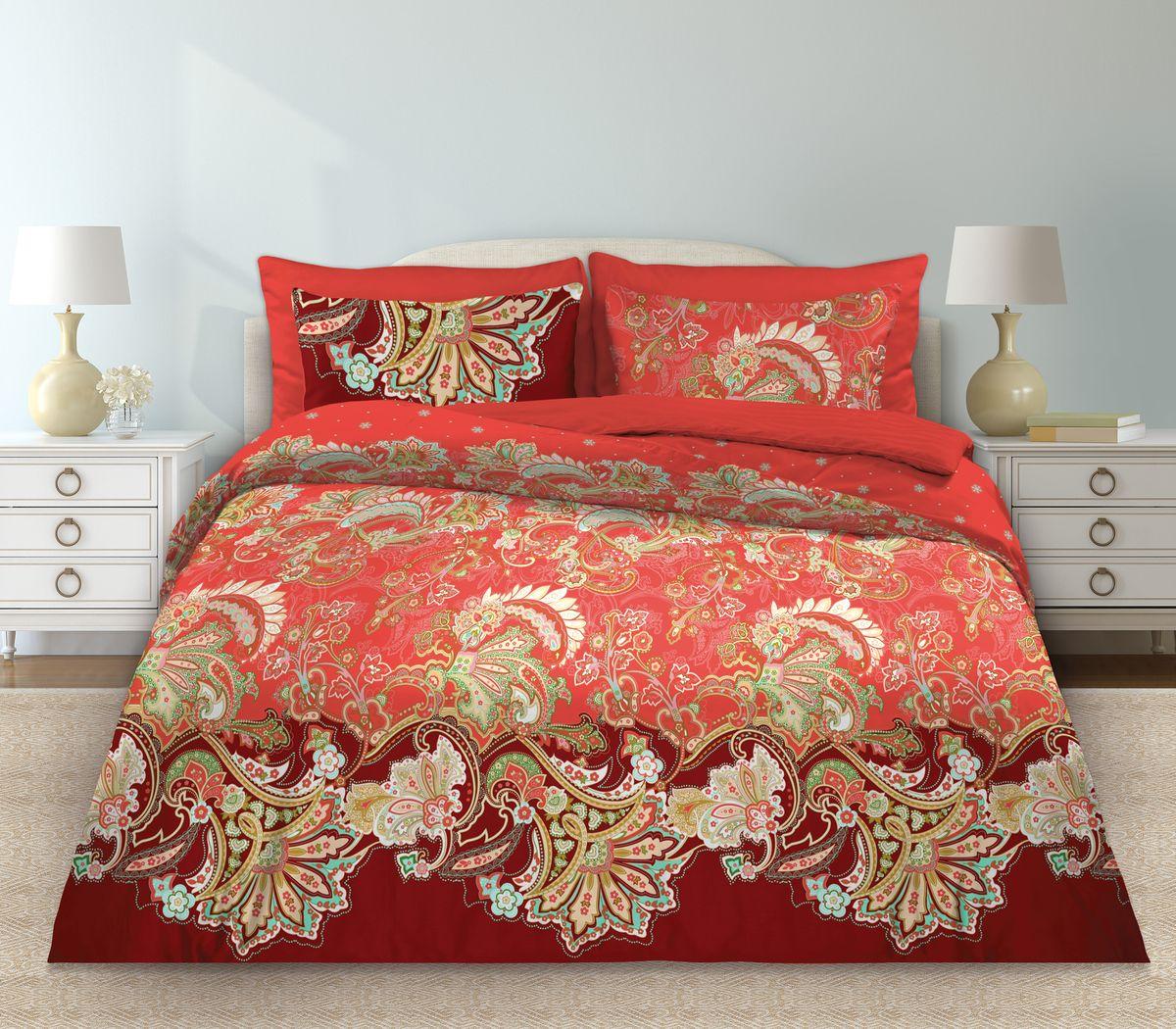 Комплект белья Любимый дом Болеро, 1,5-спальный, наволочки 70x70, цвет: красный345950Комплект постельного белья коллекции Любимый дом выполнен из высококачественной ткани - из 100% хлопка. Такое белье абсолютно натуральное, гипоаллергенное, соответствует строжайшим экологическим нормам безопасности, комфортное, дышащее, не нарушает естественные процессы терморегуляции, прочное, не линяет, не деформируется и не теряет своих красок даже после многочисленных стирок, а также отличается хорошей износостойкостью.