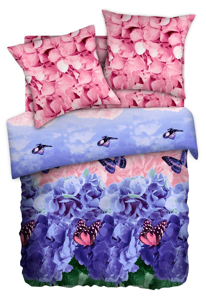 Комплект белья Любимый дом Гортензия, семейный, наволочки 70 x 70, цвет: сиреневый. 347837347837