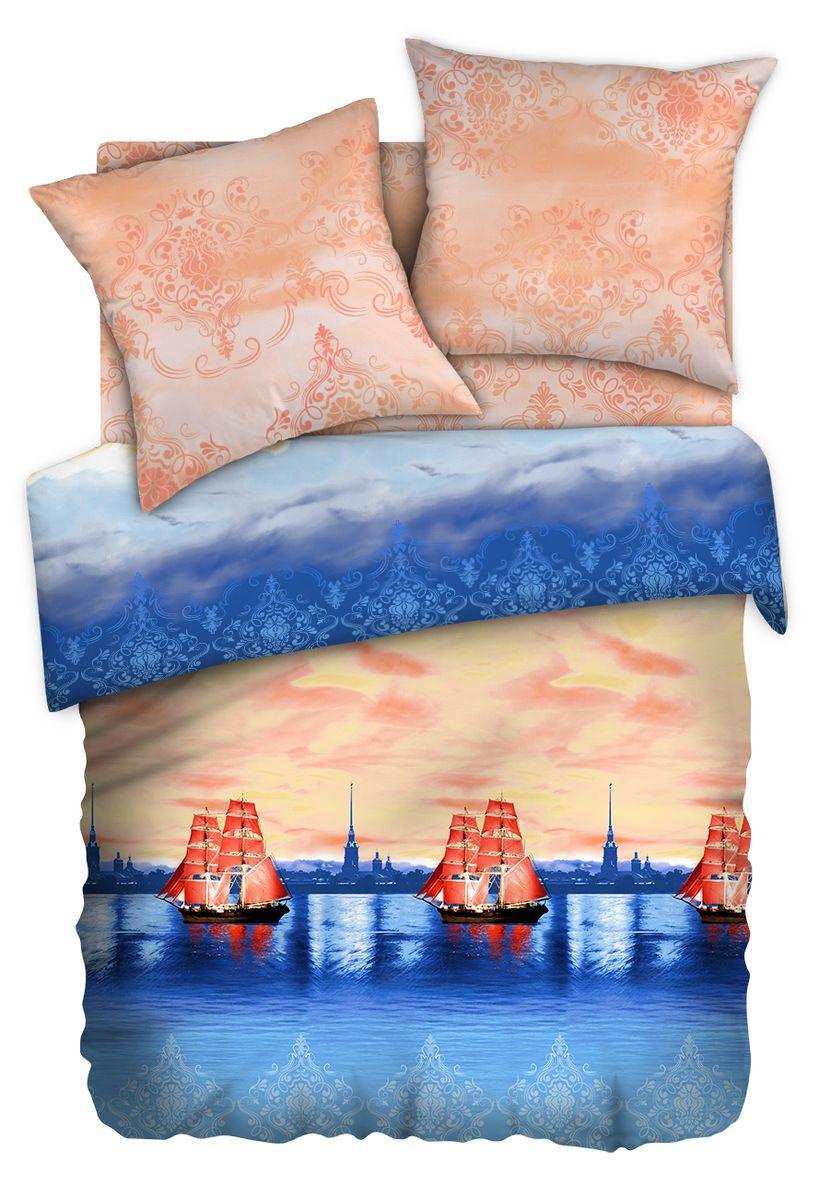 Комплект белья Любимый дом Нева, семейный, наволочки 70 x 70, цвет: оранжевый. 348245348245