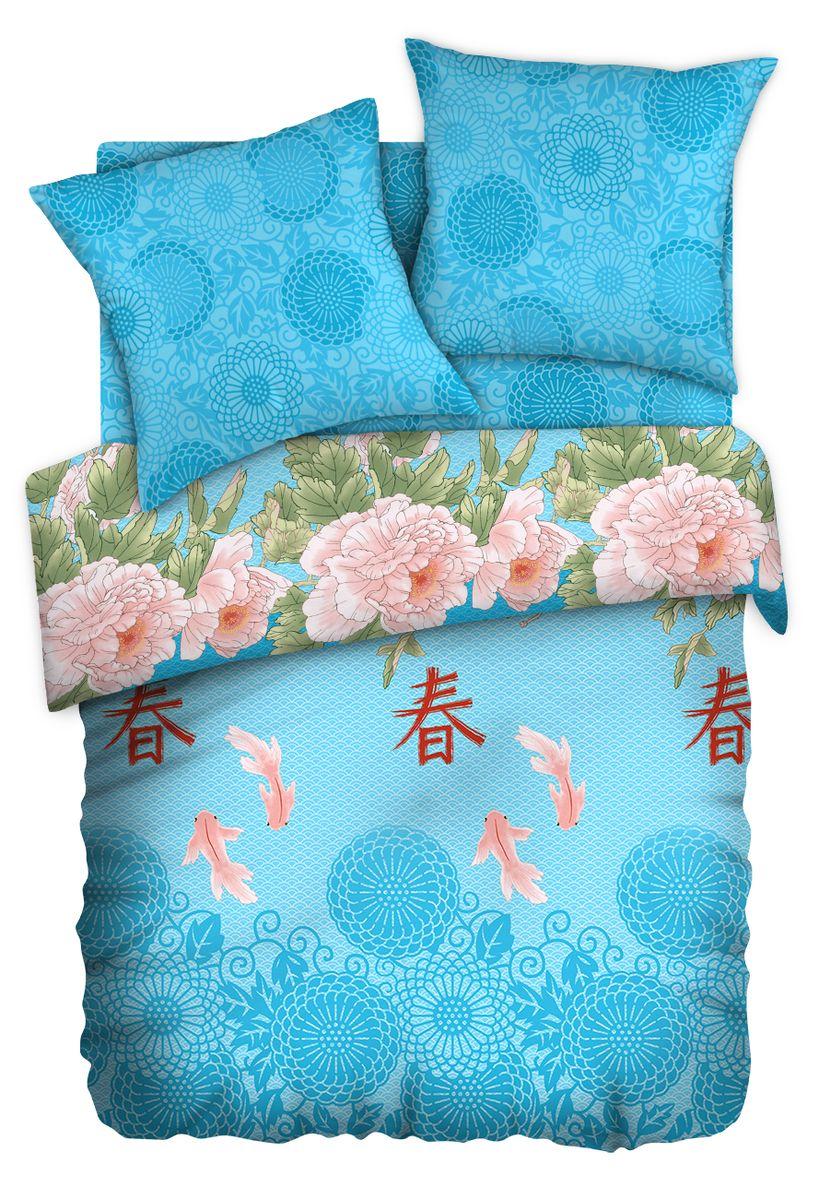 Комплект белья Любимый дом Созерцание, 1,5 спальное, наволочки 70 x 70, цвет: голубой. 351143351143