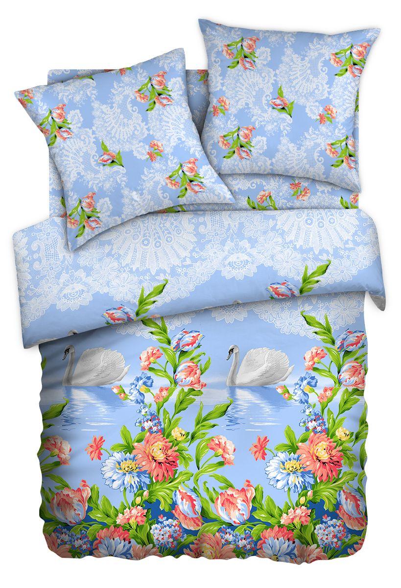 Комплект белья Любимый дом Лебеди, 1,5-спальный, наволочки 70x70, цвет: голубой351144Комплект постельного белья коллекции Любимый дом выполнен из высококачественной ткани - из 100% хлопка. Такое белье абсолютно натуральное, гипоаллергенное, соответствует строжайшим экологическим нормам безопасности, комфортное, дышащее, не нарушает естественные процессы терморегуляции, прочное, не линяет, не деформируется и не теряет своих красок даже после многочисленных стирок, а также отличается хорошей износостойкостью.
