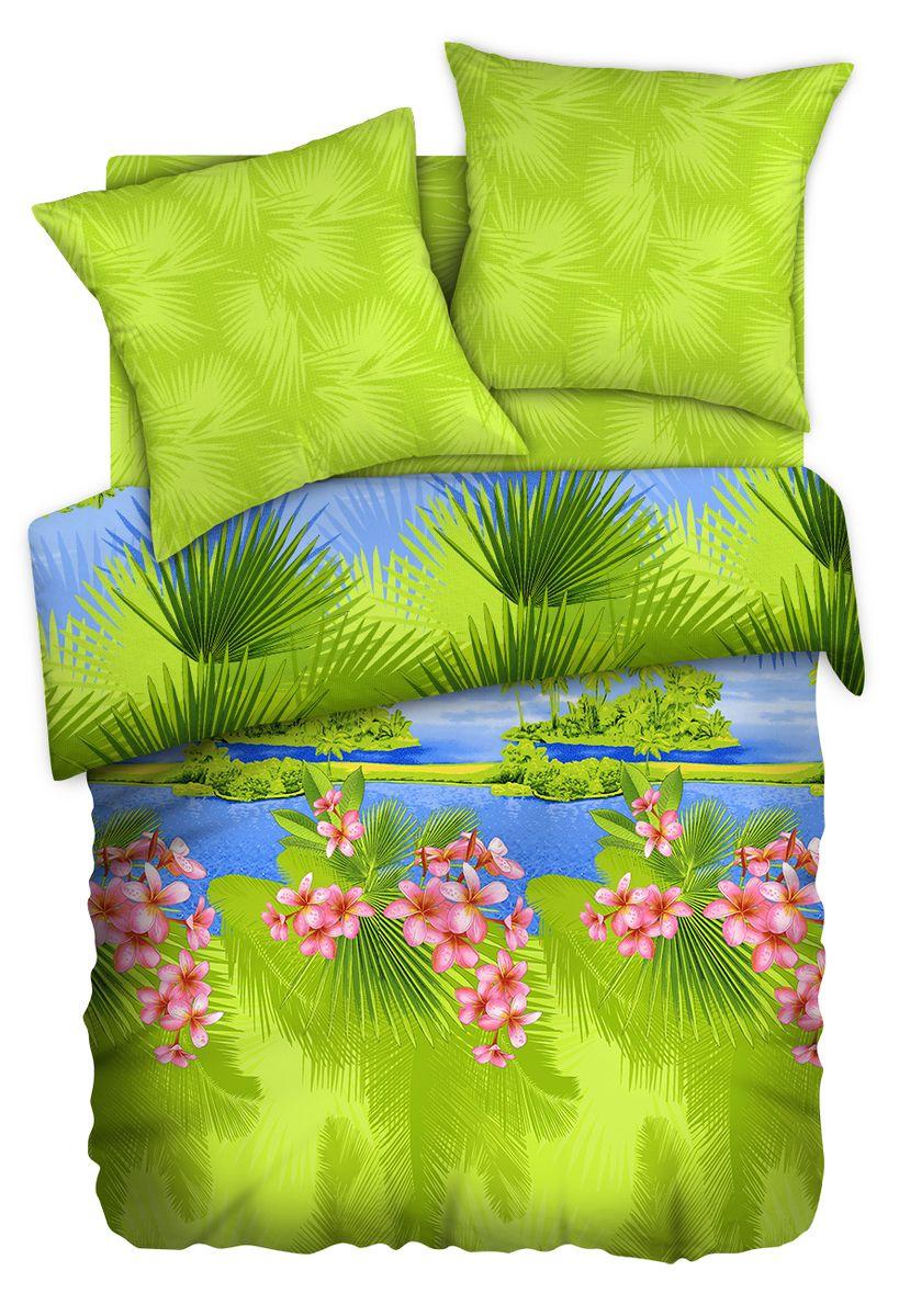 Комплект белья Любимый дом Бали, 2-х спальное, наволочки 70 x 70, цвет: зеленый. 351156351156