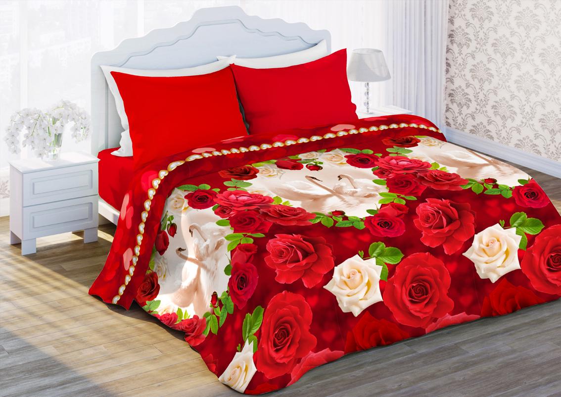 Комплект белья Любимый дом Любовь, 1,5 спальное, наволочки 70 x 70, цвет: красный. 352308352308