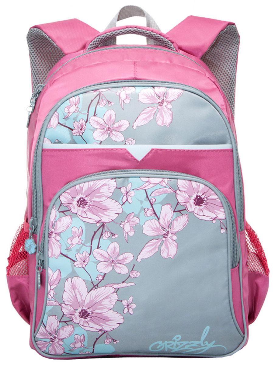 Grizzly Рюкзак школьный цвет коралловый серыйRG-661-2/1Школьный рюкзак Grizzly - это красивый и удобный рюкзак, который подойдет всем, кто хочет разнообразить свои школьные будни. Рюкзак выполнен из плотного материала и оформлен оригинальным принтом с цветами. Рюкзак имеет два основных отделения на молнии. Самое большое отделение имеет накладной карман на молнии, а также жесткую вставку для дна. Спереди на рюкзаке располагаются два внешних кармана на молнии. Передний внешний карман содержит органайзер для школьных принадлежностей, включающий в себя сетчатый кармашек на молнии, а также 2 небольших открытых накладных кармашка. По бокам рюкзака расположены два сетчатых кармана на резинке. Бегунки застежки-молнии дополнены удобными металлическими держателями в виде цветочков с логотипом Grizzly. Рюкзак также оснащен петлей для подвешивания на вешалку и удобной ручкой для переноски. Широкие регулируемые лямки и сетчатые мягкие вставки на спинке рюкзака предохранят мышцы спины ребенка от перенапряжения при...