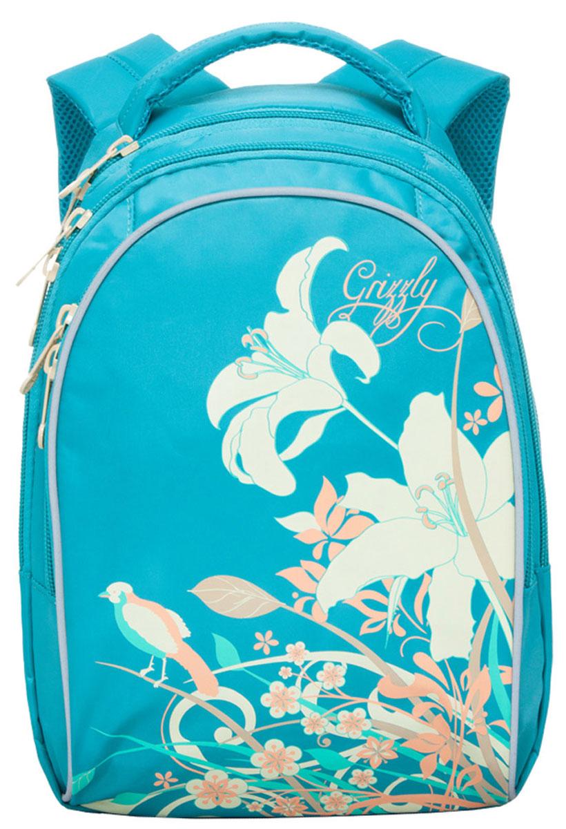 Grizzly Рюкзак детский цвет бирюзовыйRG-657-1_бирюзовыйШкольный рюкзак Grizzly - это красивый и удобный рюкзак, который подойдет всем, кто хочет разнообразить свои школьные будни. Рюкзак выполнен из плотного материала и оформлен оригинальным принтом с цветами. Рюкзак имеет два основных отделения на молнии. Самое большое отделение имеет накладной карман на молнии. Спереди на рюкзаке располагается внешний карман на молнии, содержащий органайзер для школьных принадлежностей. Бегунки застежки-молнии дополнены удобными металлическими держателями с логотипом Grizzly. Рюкзак также оснащен удобной ручкой для переноски и светоотражающими элементами в виде бабочек по бокам. Широкие регулируемые лямки со светоотражающими вставками и сетчатые мягкие вставки на спинке рюкзака предохранят мышцы спины ребенка от перенапряжения при длительном ношении. Многофункциональный школьный рюкзак станет незаменимым спутником вашего ребенка в походах за знаниями.