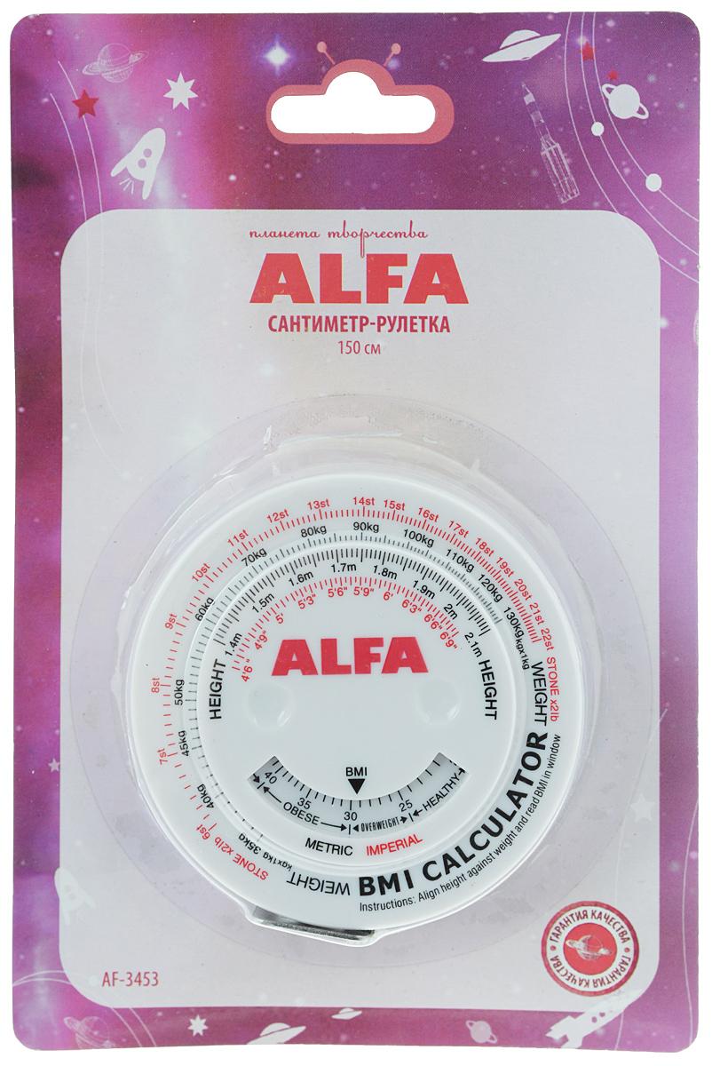 Сантиметр-рулетка Alfa, биометрический, 150 смAF-3453Сантиметровая рулетка Alfa в пластиковом корпусе предназначена для снятия мерок и вычисления индекса массы тела (ИМТ). Сантиметровая лента, выполненная из ПВХ, имеет деление в 1 см с обеих сторон. Применение: Для определения ИМТ, сопоставьте рост и вес на цифровой шкале. В окошке внизу будет указан рассчитанный ИМТ. Меньше 20 - вес ниже нормы. 20-25 - вес в норме. 25-30 - вес выше нормы. 30-40 - ожирение. Более 40 - сильное ожирение. Общая длина ленты: 150 см.