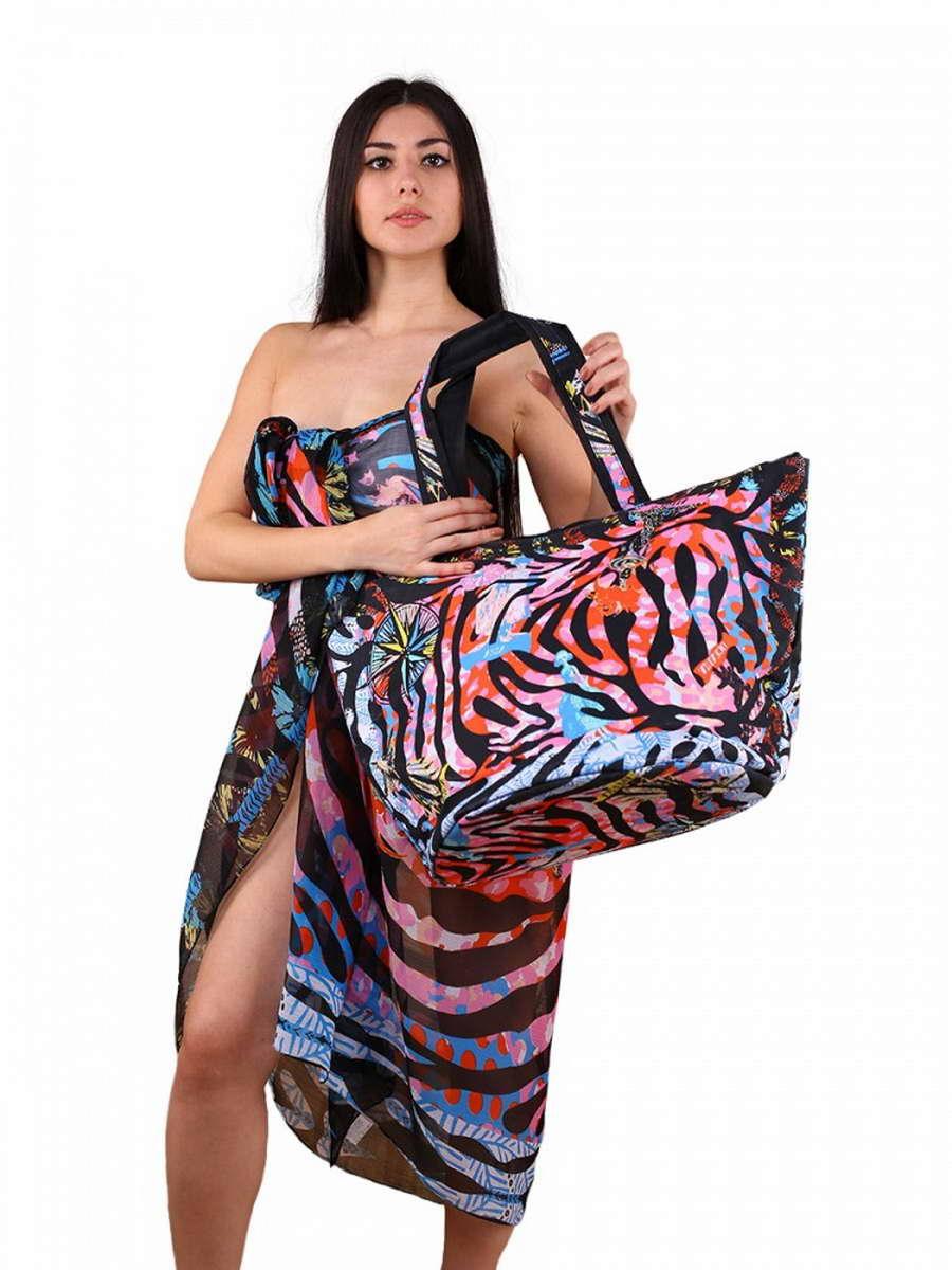 Сумка пляжная Venera , цвет: черный, красный, белый, голубой + парео. 5500256-1/15500256-1/1Яркий комплект из парео и сумки. Практичная, вместительная сумка из полиэстра, великолепный летний вариант. В комплект входит парео, большой размер которого позволяет завязать его разными способами.