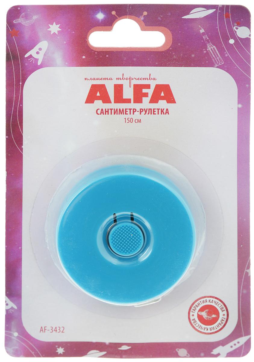 Сантиметр-рулетка Alfa, цвет: голубой, 150 cмAF-3432Сантиметровая рулетка Alfa в пластиковом корпусе предназначена для снятия мерок, измерения различных изделий и материалов. Сантиметровая лента, выполненная из ПВХ, оснащена делением в 1 см с обеих сторон. Общая длина 150 см.
