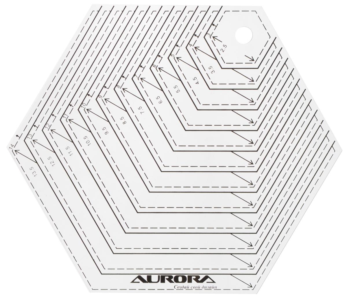 Линейка для пэчворка Aurora Шестиугольник, 14 х 16 смAU-H14Линейка для пэчворка Aurora Шестиугольник выполнена из высококачественного прозрачного пластика. Она предназначена для изготовления шаблонов высотой от 2,5 до 13,5 см. Разметки на линейке выполнены из высокостойкой краски.