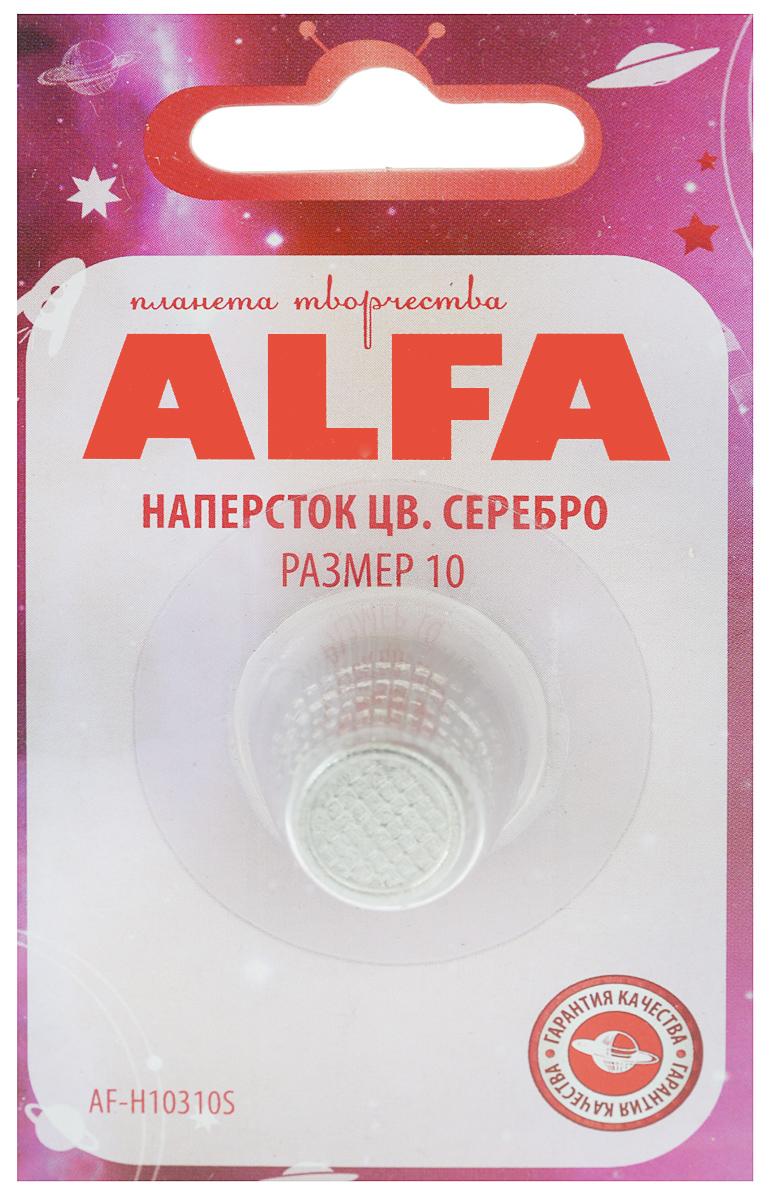 Наперсток Alfa, цвет: серебристый. Размер 10AF-H10310SНаперсток Alfa выполнен из металла, имеет анатомическую форму, поэтому удобно располагается на пальце. Оснащен перфорацией для проталкивания игл в плотные слои ткани. Размер наперстка: №10.