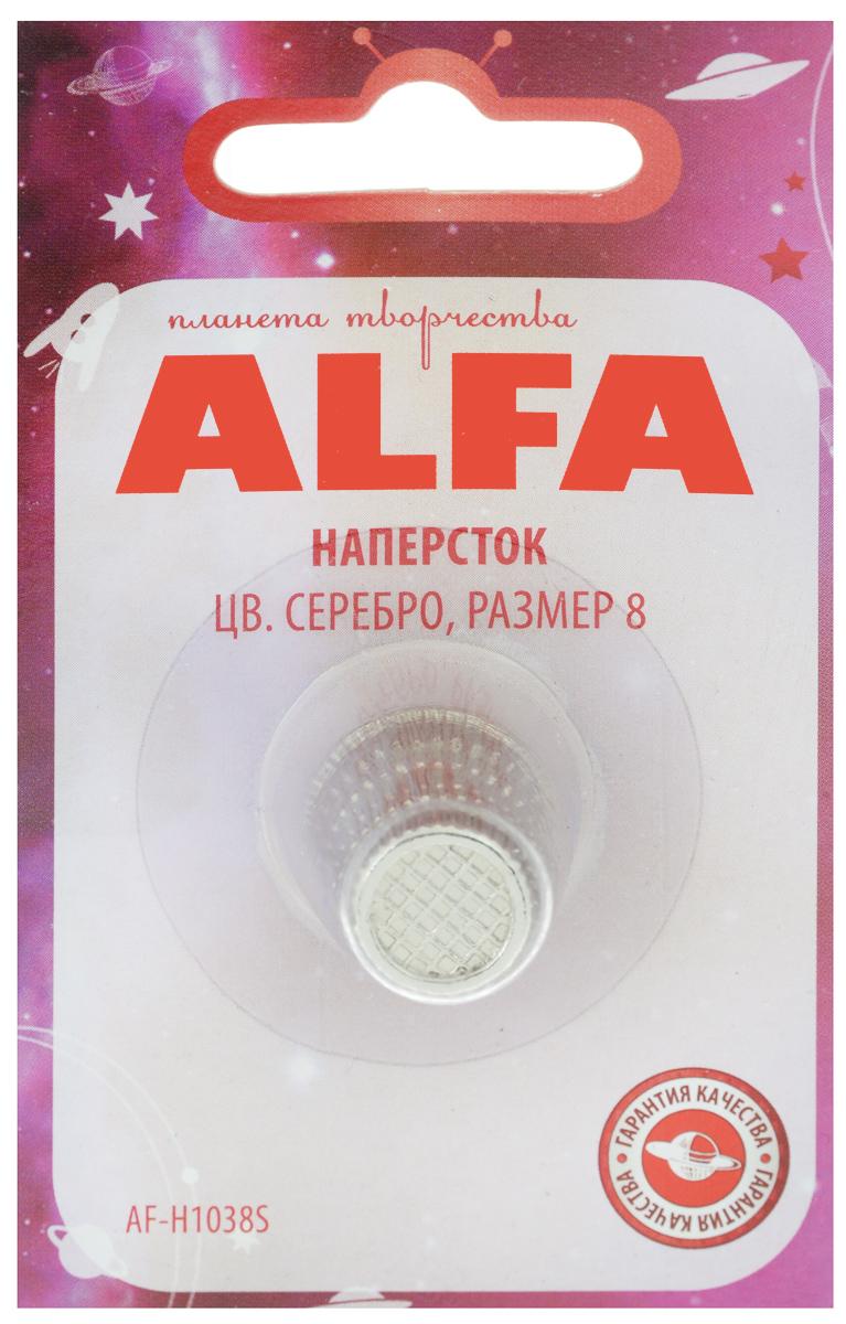 Наперсток Alfa, цвет: серебристый. Размер 8AF-H1038SНаперсток Alfa выполнен из металла анатомической формы, поэтому удобно располагается на пальце. Оснащен перфорацией для проталкивания игл в плотные слои ткани. Размер наперстка: №8.