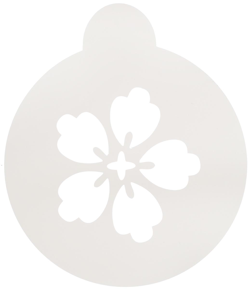 Трафарет на кофе и десерты Леденцовая фабрика Цветочек-пятилистник, диаметр 10 смТ023Трафарет Леденцовая фабрика Цветочек-пятилистник представляет собой пластину с прорезями, через которые пищевая краска (сахарная пудра, какао, шоколад, сливки, корица, дробленый орех) наносится на поверхность кофе, молочных коктейлей, десертов. Трафарет изготовлен из матового пищевого пластика 250 мкм и пригоден для контакта с пищевыми продуктами. Трафарет многоразовый. Побалуйте себя и ваших близких красиво оформленным кофе.