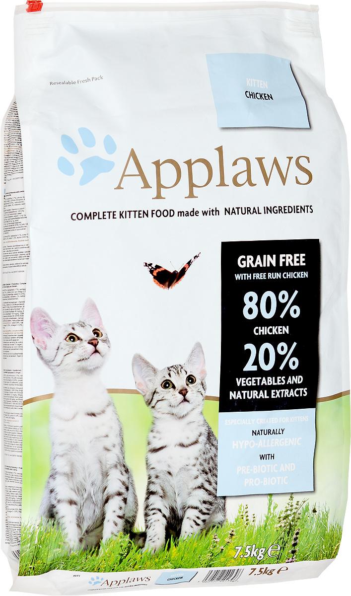 Корм сухой Applaws для котят, беззерновой, с курицей и овощами, 7,5 кг24399Беззерновой корм для кошек Applaws изготовлен по особым рецептам, разработанными диетологами института Великобритании. Правильная диета очень важна для питомцев, ведь она меняется в зависимости от жизненного цикла. Также полнорационные корма должны включать в себя необходимое количество витаминов и минералов. В рецептах сухих кормов Applaws учтен не только перечень наиболее необходимых минералов и витаминов, но и их строгий баланс. Так как сухой корм изготавливается только из натуральных качественных ингредиентов, крокеты привлекут внимание любого, даже очень привередливого питомца. Состав: сушеное мясо цыпленка (62%), фарш из куриного мяса (17%), картофель, пивные дрожжи, свекловичный жом, куриная подливка (1%), лососевый жир, источник омега-3, ЭПК и ДГК, витамины и минералы, сушеное яйцо, целлюлозное растительное волокно (0,03%), хлорид натрия, карбонат кальция, морские водоросли, клюква, ДЛ-метионин, хлорид калия, экстракт юкки, экстракт из...