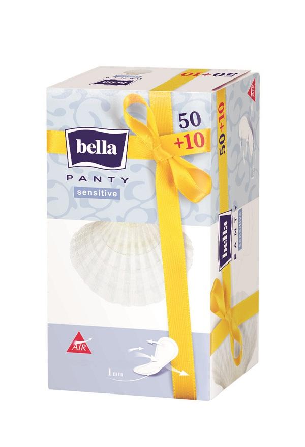 Bella Прокладки ежедневные Panty sensitive 50+10 штBE-022-RN60-003Bella Panty Sensitive Супертонкая, толщиной всего 1 миллиметр, ежедневная прокладка без аромата. Идеально прилегает к белью и практически незаметна. Предназначена для молодых женщин, которые любят активный образ жизни. Почувствуйте уникальную нежность!