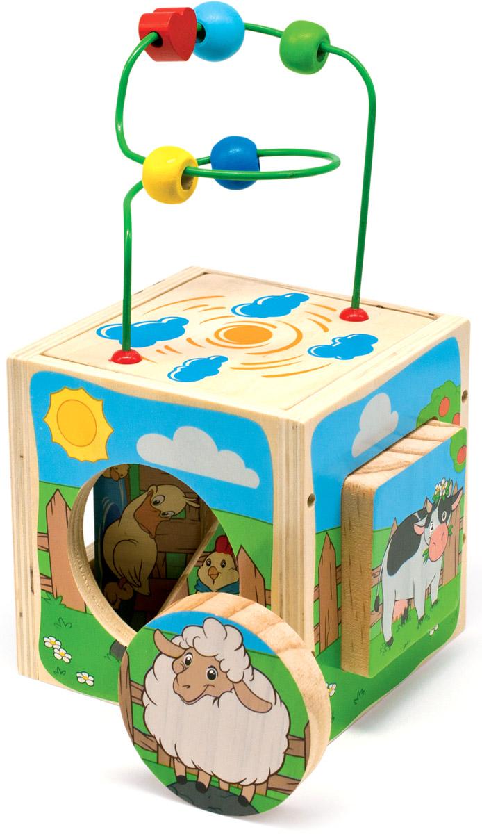 Мир деревянных игрушек Куб-лабиринт ФермаД374Куб-лабиринт Мир деревянных игрушек Ферма содержит в себе несколько развивающих игрушек. Сверху куба находится проволочный лабиринт с геометрическими бусинами разных цветов и форм. Одна из сторон куба переворачивается, лабиринт устанавливается на крышу куба, после окончания игры лабиринт прячется внутрь куба для удобства хранения и переноски. Четыре стороны куба представляют собой сортер. Отверстия прорезаны по форме геометрических фигур. Малыш должен определить, какая фигурка соответствует каждому отверстию. Игрушка способствует развитию логики, моторики и творческих способностей ребенка.