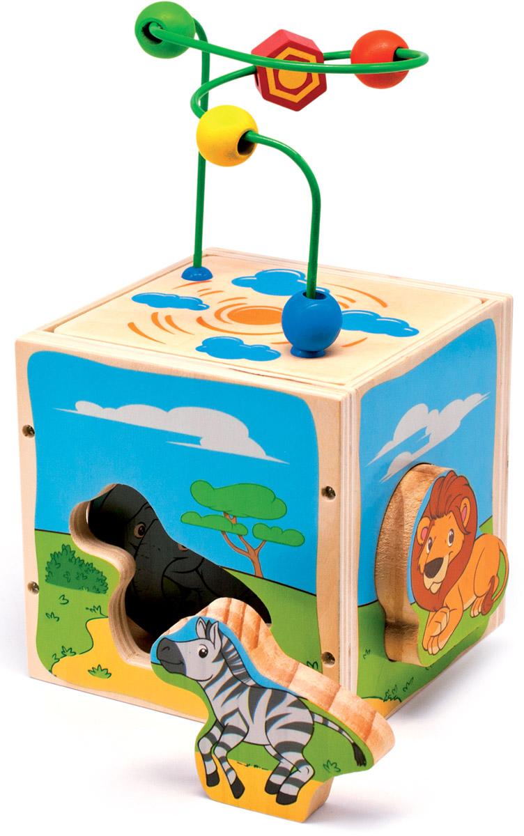 Мир деревянных игрушек Куб-лабиринт СафариД373Куб-лабиринт Мир деревянных игрушек Сафари содержит в себе несколько развивающих игрушек. Сверху куба находится проволочный лабиринт с геометрическими бусинами разных цветов и форм. Одна из сторон куба переворачивается, лабиринт устанавливается на крышу куба, после окончания игры лабиринт прячется внутрь куба для удобства хранения и переноски. Четыре стороны куба представляют собой сортер. Отверстия прорезаны по форме животных. Малыш должен определить, какая фигурка соответствует каждому отверстию. Игрушка способствует развитию логики, моторики и творческих способностей ребенка.