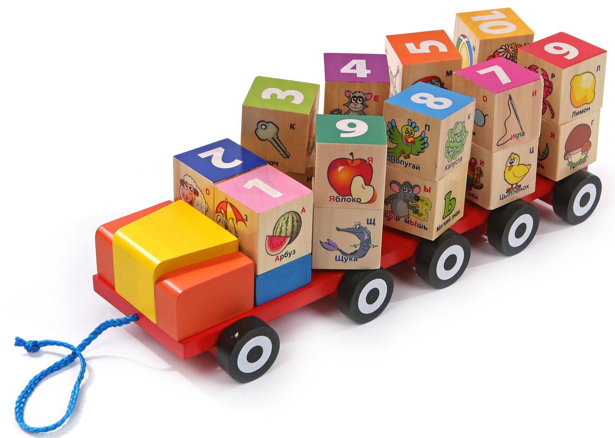 Мир деревянных игрушек Автомобиль-кубики с алфавитомД249Теперь обучение числам и буквам будет намного проще и интереснее, ведь все это происходит в игровой форме. Автомобиль-кубики с алфавитом от компании Мир деревянных игрушек помогает очень эффективно решить эту задачу. Ребенок играет с машинкой, которую можно не только катать за веревочку, но и загружать в нее и выгружать груз (кубики), при этом он зрительно будет запоминать изображения букв и цифр. При движении машинки кубики вращаются вокруг своей оси. В наборе двадцать кубиков, помогающих освоить как геометрические формы, так и буквы, а также увеличить свои знания про окружающий мир благодаря нанесенным на грани кубиков рисункам. Все детали автомобиля изготовлены из натуральной древесины, а для их покрытия применяется безвредный лакокрасочный материал. Игрушка помогает освоить алфавит, развивает логику, творческие способности, основы речи, мелкую моторику, знакомит с причинно-следственными связями и помогает улучшить процесс запоминания.