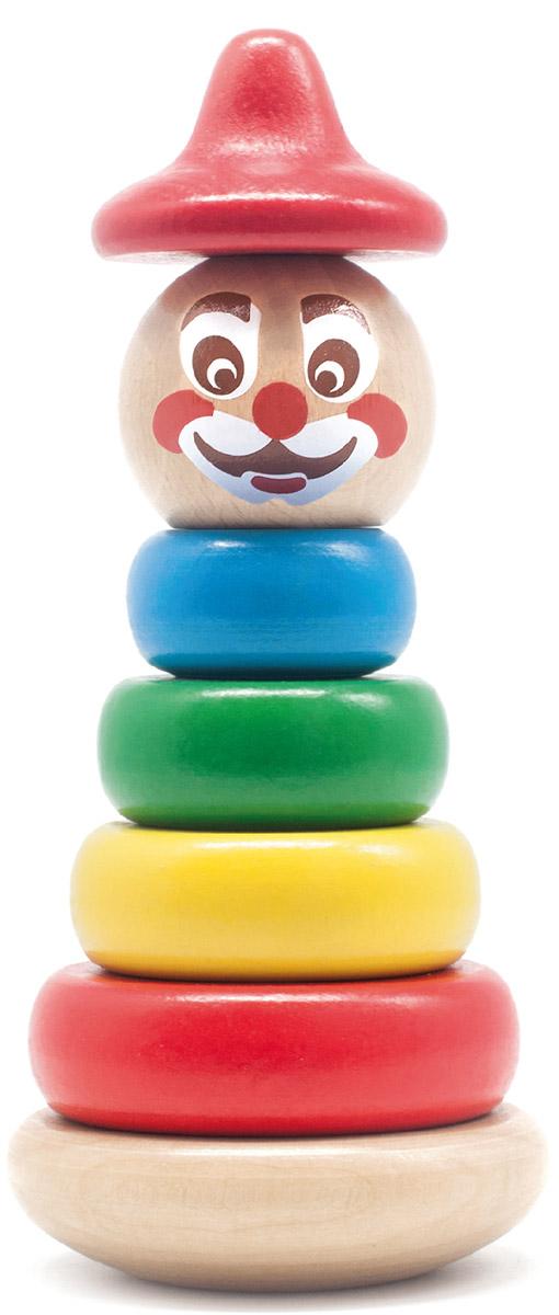 Бомик Пирамидка Клоун цвет колпака красный816Яркая оригинальная пирамидка Бомик Клоун понравится вашему малышу и надолго займет его внимание. Игрушка состоит из основания, на которое нанизываются цветные колечки разного диаметра, вершина в виде головы клоуна и колпак. В комплекте 7 деталей. Собрать пирамидку не так просто: округлое качающееся основание делает игру еще более увлекательной и интересной. Игры с пирамидкой Бомик Клоун помогут ребенку в развитии мелкой моторики рук, координации движений, познакомят с понятиями формы, цвета и размера предмета (больше-меньше). Все элементы выполнены из натурального дерева.