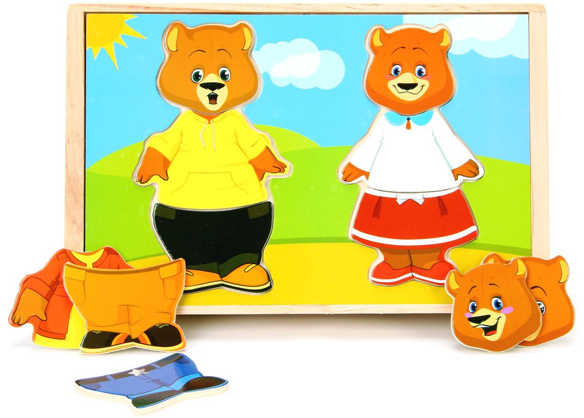 Мир деревянных игрушек Пазл для малышей Два медведяД182Пазл для малышей Мир деревянных игрушек Два медведя - это занимательная игрушка, которая обязательно понравится вашему малышу. На крышке ящичка расположилась рамка для семьи медведей. Каждый член медвежьей семьи состоит из трех частей, а в коробочке хранятся дополнительные части, из которых можно сложить медвежат в разных костюмах. Задача малыша - подобрать каждому персонажу игры свой наряд, сочетая детали одежды по цвету и стилю и учитывая размер. Из маленьких кусочков составляется красочная картина. Это замечательное времяпровождение для детей. Игра развивает мелкую моторику, логическое мышление, сообразительность, воображение, усидчивость, знакомит малыша с разными эмоциями, цветами и деталями одежды. Материал: натуральное дерево с применением безопасных красителей.