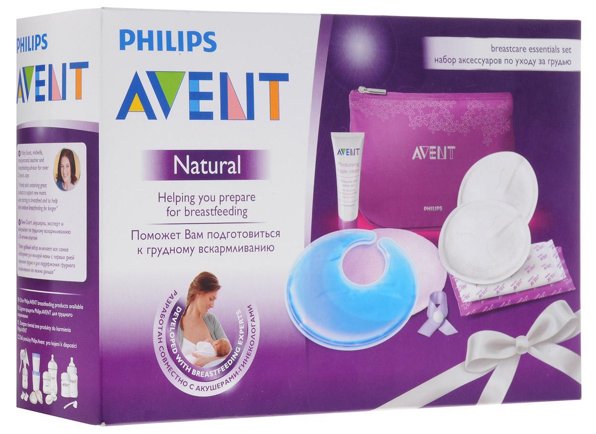 Philips Avent Набор аксессуаров по уходу за грудью SCF257/00SCF257/00Набор аксессуаров для кормящих мам Avent создан для преодоления неудобств, связанных с кормлением грудью. Набор включает 12 вкладышей для бюстгальтера для дневного времени, 6 вкладышей для ночного времени, 2 накладки с термогелем, 2 текстильных чехла для термонакладкок сиреневого цвета, крем для сосков и зажим для бюстгальтера. Дневные вкладыши в бюстгалтер надежно впитывают и обеспечивают комфорт в течение всего дня. Ночные вкладыши обладают большей впитывающей способностью. Термонакладки на грудь можно нагревать для стимулирования выделения молока перед кормлением либо охлаждать для снятия напряжения переполненной груди. Крем нежно увлажняет и смягчает сухие и потрескавшиеся соски. Клипса для бюстгалтера предназначена для напоминания, с какой груди начать следующее кормление. В комплект также входит фиолетовая моющаяся косметичка для хранения аксессуаров с перегородкой-сеточкой внутри, закрывающаяся на застежку-молнию.