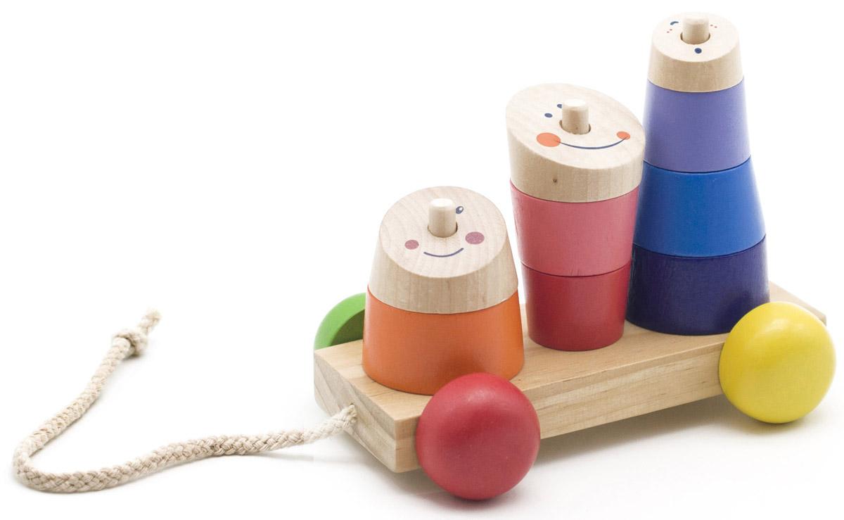 Мир деревянных игрушек Пирамидка-каталка РожицыД355Пирамидка-каталка Мир деревянных игрушек Рожицы изготовлена из безопасных, экологически чистых материалов. Пирамидка с крупными деталями и неострым штырьком на устойчивом основании поможет ребенку развивать моторику, логическое мышление, изучать фигуры и цвета, понятия большой - маленький и больше - меньше. К основанию пирамидки прикреплена веревочка, с помощью которой малыш сможет катать игрушку за собой.