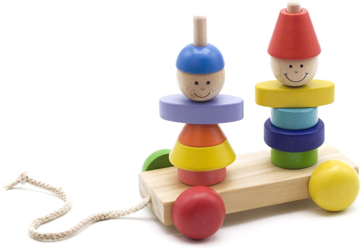 Мир деревянных игрушек Пирамидка-каталка Мальчик и девочкаД354Пирамидка-каталка Мир деревянных игрушек Мальчик и девочка изготовлена из безопасных, экологически чистых материалов. Пирамидка с крупными деталями и неострым штырьком на устойчивом основании поможет ребенку развивать моторику, логическое мышление, изучать фигуры и цвета, понятия большой - маленький и больше - меньше. К основанию пирамидки прикреплена веревочка, с помощью которой малыш сможет катать игрушку за собой.