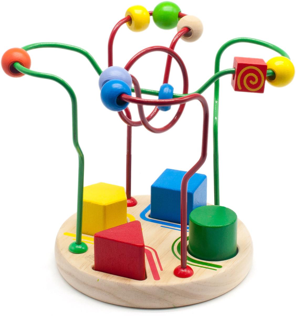 Мир деревянных игрушек Сортировщик-лабиринтД378Сортировщик-лабиринт от компании Мир деревянных игрушек представляет собой комбинацию из нескольких разноцветных проволок, изогнутых в разных плоскостях и закрепленных на деревянном основании. Проволоки нельзя сгибать. На каждой проволоке нанизаны разноцветные деревянные фигурки различной формы. По вашему заданию ребенок будет перемещать фигурки заданного цвета по заданной проволоке. В основании игрушки расположен сортер, представляющий собой геометрические фигуры разных цветов, которые необходимо установить в соответствующие пазы. Игрушка поможет развитию у ребенка внимания, логического и пространственного мышления, навыков счета, а также моторики пальчиков, познакомит с цветами и формами.
