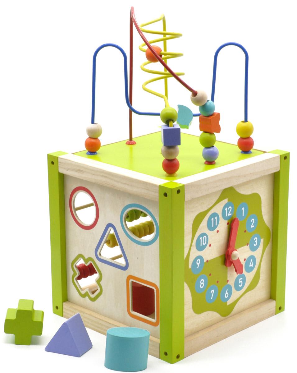 Мир деревянных игрушек Универсальный кубД260Универсальный куб от компании Мир деревянных игрушек содержит в себе несколько развивающих игрушек. Сверху куба находится проволочный лабиринт с геометрическими бусинами разных цветов и форм. Одна из сторон куба переворачивается, лабиринт устанавливается на крышу куба, после окончания игры лабиринт прячется внутрь куба для удобства хранения и переноски. Две стороны куба представляют собой сортер с пятью прорезями различной геометрической формы на каждой. В прорези помещаются объемные вкладыши соответствующей формы, которые хранятся внутри куба. Куб также имеет счеты, содержащие 5 осей по 10 костяшек определенного цвета и часы с подвижными деревянными стрелками. Игрушка способствует развитию логики, моторики, творческих способностей ребенка, знакомит с цифрами, счетом, понятием времени, фигурами и цветами.