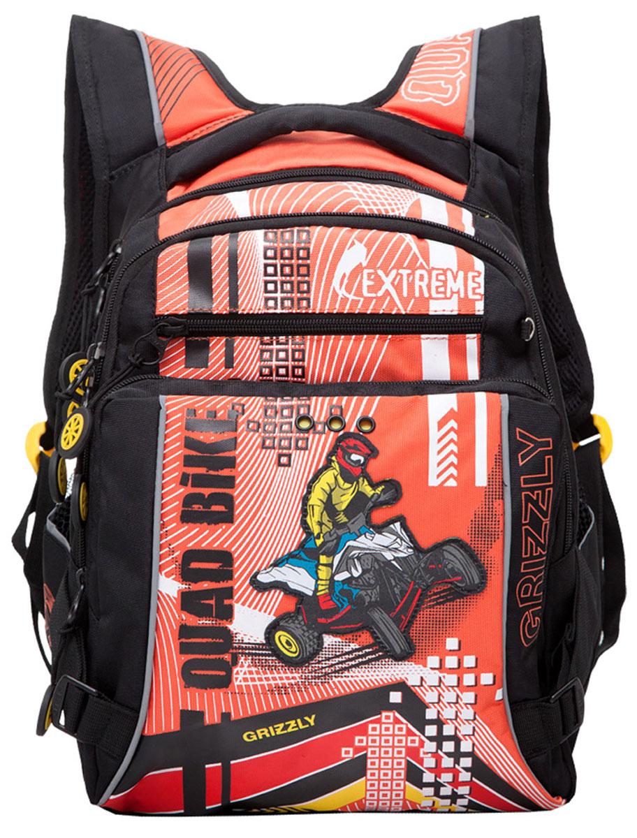 Grizzly Рюкзак детский Quad Bike цвет черный оранжевыйRB-631-1/2Школьный рюкзак Grizzly Quad Bike - это стильный рюкзак, который подойдет всем, кто хочет разнообразить свои школьные будни. Благодаря уплотненной спинке и двум мягким плечевым ремням, длина которых регулируется, у ребенка не возникнут проблемы с позвоночником. Конструкция спинки дополнена эргономичными подушечками. Рюкзак выполнен из плотного полиэстера черного и оранжевого цветов и оформлен оригинальной аппликацией. Рюкзак состоит из двух основных вместительных отделений, закрывающихся на застежки-молнии. Большое основное отделение оборудовано небольшим карманом на молнии. Во втором отделении располагается органайзер для принадлежностей. На внешней стороне рюкзак оснащен двумя карманами на застежках-молниях. По бокам рюкзака расположены два небольших сетчатых кармана. Дно рюкзака можно сделать жестким, разложив специальную панель с пластиковой вставкой, что повышает сохранность содержимого рюкзака и способствует правильному распределению нагрузки. Для удобной переноски...