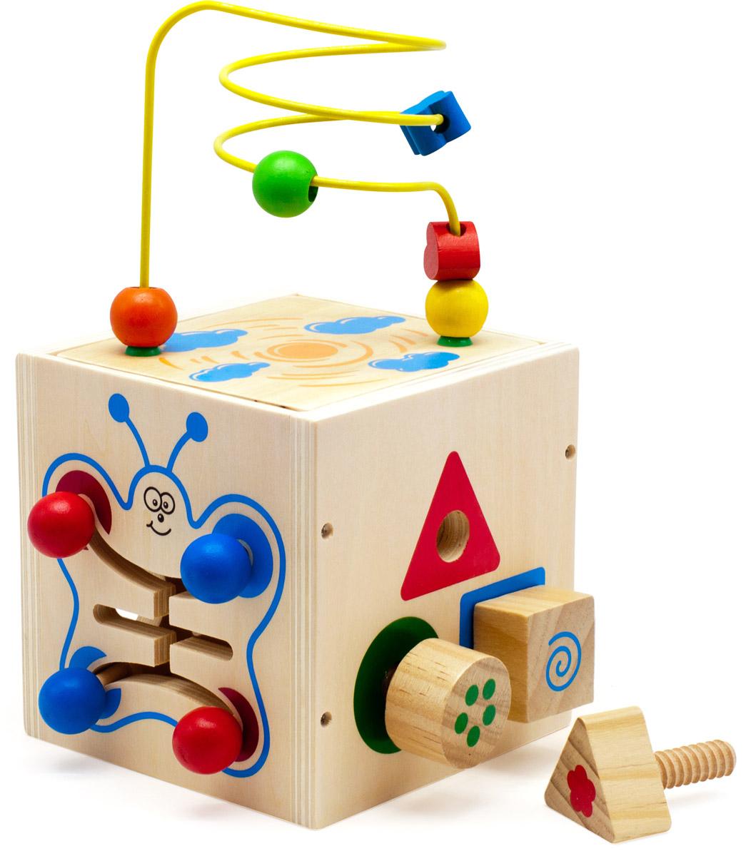 Мир деревянных игрушек Куб-лабиринт 5 в 1 Д375Д375Куб-лабиринт 5 в 1 от компании Мир деревянных игрушек содержит в себе несколько развивающих игрушек. Сверху куба находится проволочный лабиринт с геометрическими бусинами разных цветов и форм. Одна из сторон куба переворачивается, лабиринт устанавливается на крышу куба, после окончания игры лабиринт прячется внутрь куба для удобства хранения и переноски. Две стороны куба имеют сортер. На одной стороне куба отверстия сортера прорезаны по форме геометрических фигур. Малыш должен определить, какая фигурка соответствует каждому отверстию. Другой вариант сортера представляет собой нарисованные геометрические фигуры разных цветов с одинаковыми отверстиями в центре. Задачей ребенка является вкручивание деревянных винтиков с геометрической фигуркой на конце в отверстие соответствующей нарисованной фигуры. Другие стороны куба содержат деревянный лабиринт в виде бабочки и часы. Игрушка способствует развитию логики, моторики, помогает изучить фигуры и цвета, цифры и понятие времени,...