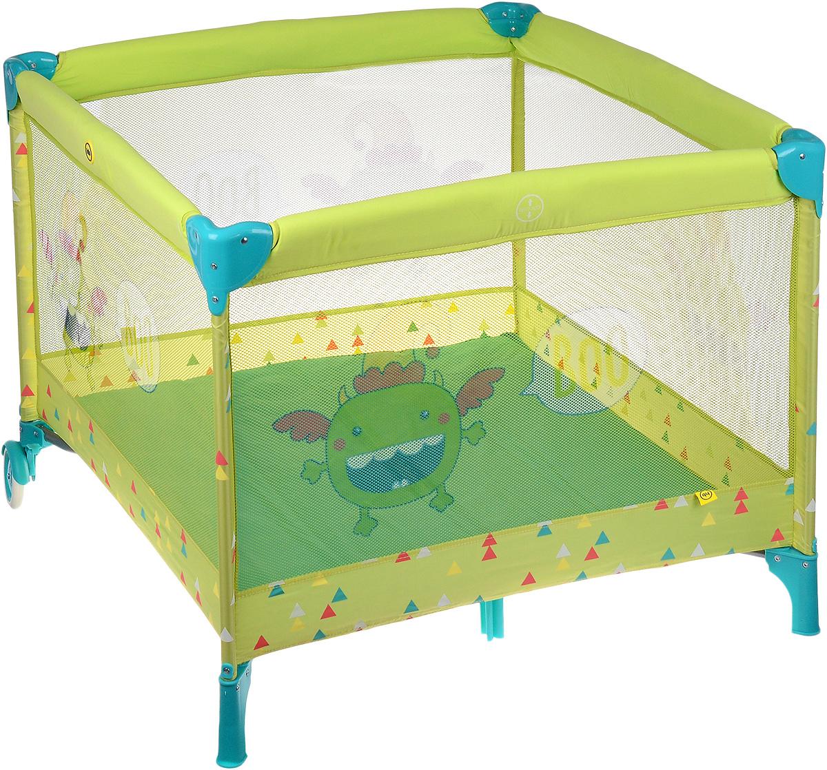 Happy Baby Манеж Alex цвет зеленый4650069782360Безопасный и просторный манеж Happy Baby Alex позволит малышам играть, ползать, вставать и учиться ходить с комфортом и удовольствием. Уникальный, яркий дизайн манежа разработан с учётом восприятия цветов и рисунков маленькими детьми. Манеж позволит мамам не волноваться за ребёнка и заняться неотложными домашними делами. Боковые стенки манежа изготовлены из просвечивающегося материала. Это очень важно как для мамы, так и для крохи. Малыш всегда будет видеть свою маму, а мама, в свою очередь, будет видеть, чем занимается её ребёнок. Благодаря двум колёсам его удобно перемещать по квартире. Манеж Happy Baby Alex легко складывается в компактную, удобную для переноски сумку. Практичная, моющаяся конструкция и ткань позволит маме легко справиться с его уборкой. Манеж можно использовать на свежем воздухе. Москитная сетка в комплекте защитит малыша от насекомых и сделает его пребывание в манеже комфортным и безопасным. Размер спального места: 83 см х...