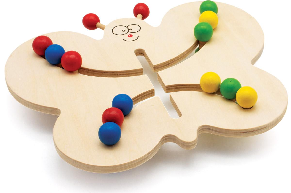 Мир деревянных игрушек Лабиринт БабочкаД370Лабиринт Мир деревянных игрушек Бабочка выполнен из дерева в виде бабочки с прорезями, по которым свободно двигаются разноцветные двусторонние шарики. В комплект также входят 15 карточек с заданиями. Ребенку необходимо по заданию сдвинуть по лабиринту шарики определенных цветов. Игрушка способствует развитию логики, моторики, цветовосприятия и творческих способностей ребенка.