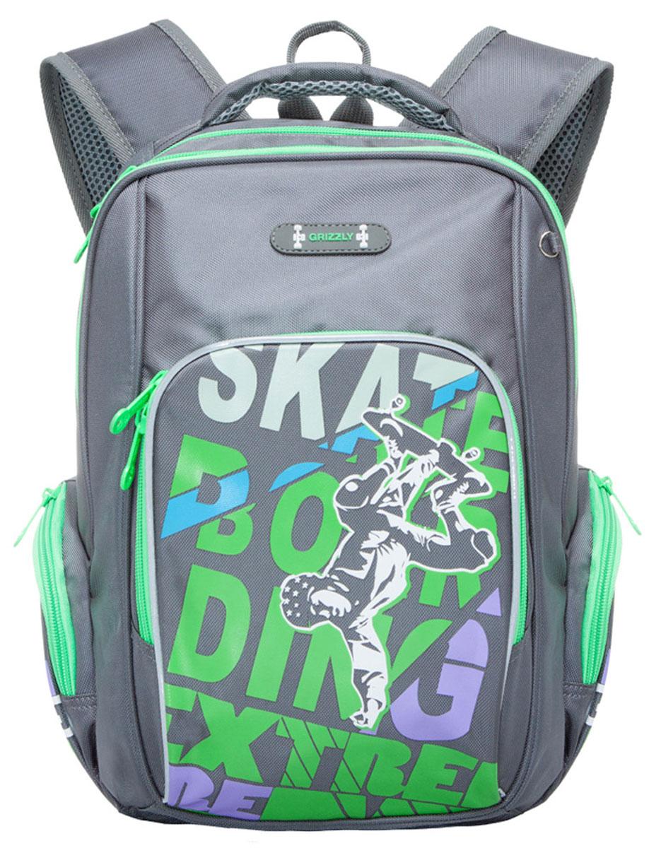 Grizzly Рюкзак школьный цвет серый салатовыйRB-630-2/3Школьный рюкзак Grizzly - это стильный рюкзак, который подойдет всем, кто хочет разнообразить свои школьные будни. Благодаря уплотненной спинке и двум мягким плечевым ремням, длина которых регулируется, у ребенка не возникнут проблемы с позвоночником. Конструкция спинки дополнена эргономичными подушечками. Рюкзак выполнен из плотного полиэстера серого и салатового цветов. Рюкзак состоит из двух основных вместительных отделений, закрывающихся на застежки-молнии. На лицевой стороне расположен накладной карман на молнии, внутри которого находится карман-сетка. По бокам рюкзак оснащен двумя небольших кармана на застежке-молнии. Для удобной переноски предусмотрена текстильная ручка. Такой школьный рюкзак станет незаменимым спутником вашего ребенка в походах за знаниями.
