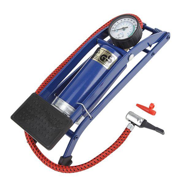 Насос ножной Foot Pump авто/вело ниппель, с манометром, цвет: синий. Т15701Т15701Ножной насос с манометром, подходит для авто/вело ниппелей
