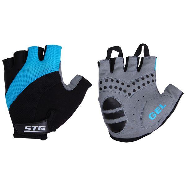 """Перчатки велосипедные """"STG"""" летние, быстросъемные, цвет: голубой. Размер S. Х61884"""
