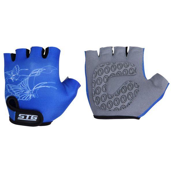 Перчатки велосипедные детские STG летние, цвет: синий. Размер S. Х66454Х66454-СПерчатки летние детские с короткими пальцами выполнены из кожи и лайкры. Перчатки быстросъемные на липучке с защитной прокладкой. Велосипедные перчатки обеспечат надежный хват за руль велосипеда и обезопасят руки юного велосипедиста при внезапном падении. Поставляются в индивидуальной упаковке. Для подбора перчаток необходимо измерить ширину ладони. Измерить ее можно линейкой или сантиметром по середине ладони от указательного пальца до мизинца. Соответствие ширины ладони перчаток: S-от 6,5 до 7 см