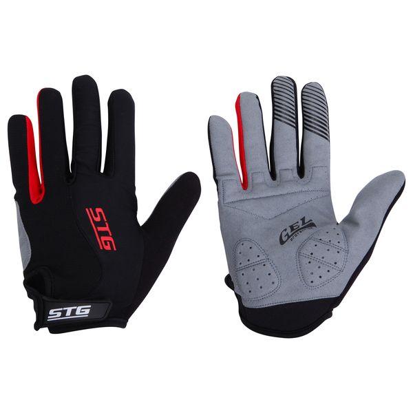 Перчатки велосипедные STG с длинными пальцами, цвет: черный. Размер M. Х66455Х66455-МДышащие велоперчатки из кожи и лайкры. Перчатки на липучке с защитной прокладкой. Велосипедные перчатки STG обеспечат надежный хват за руль велосипеда и обезопасят руки от ссадин при внезапном падении. Поставляются в индивидуальной упаковке. Для подбора перчаток необходимо измерить ширину ладони. Измерить ее можно линейкой или сантиметром по середине ладони от указательного пальца до мизинца. Соответствие ширины ладони перчаток:M-8,5см