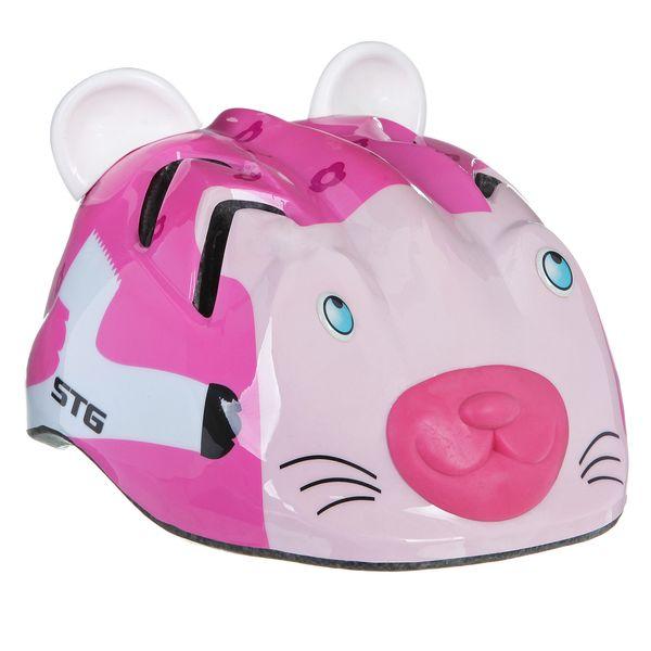 Шлем детский велосипедный STG MV7-CAT, цвет: розовый. Размер XS (44-48см). Х66767Х66767Детский велошлем, выполненный в виде симпатичной кошечки, обеспечит безопасность ребенка во время катания. Шлем является обязательным атрибутом, особенно для маленьких любителей покататься на велосипеде, беговеле или самокате, которые только познают азы самостоятельного катания. Данный велошлем разработан специально для девочек и выполнен в приятной цветовой гамме и обязательно понравится юной принцессе. Комфортная подкладка и застежка детского шлема позволят удобно его одеть, а 15 вентиляционных отверстий обеспечат необходимую вентиляцию во время катания.