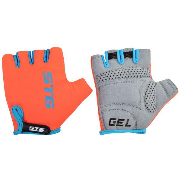 Перчатки велосипедные STG AL-03-325, летние, цвет: оранжевый, черный. Размер L. Х74365Х74365-ЛПерчатки STG, AL-03-325 летние,оранжево-черные,на липучке,L