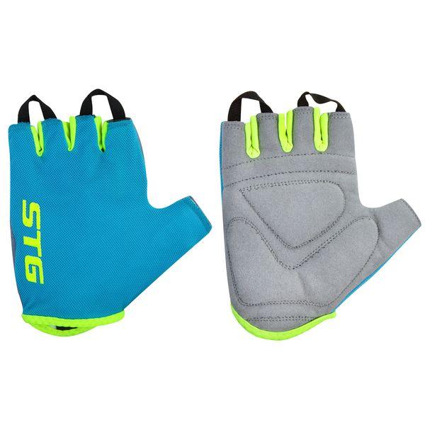 Перчатки велосипедные STG AL-03-418, летние, цвет: голубой, салатовый. Размер XS. Х74366Х74366-ХСПерчатки STG, AL-03-418, летние,голубые/салатовые,XS