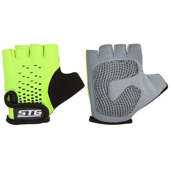 Перчатки детские велосипедные STG AL-03-511, летние, цвет: зеленый, черный. Размер S. Х74367Х74367-СПерчатки STG, AL-03-511,детские, летние,зелено-черные,на липучке,S