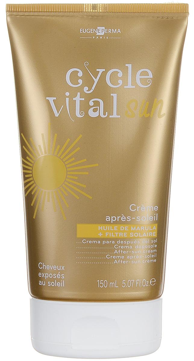 Eugene Perma Creme Cycle Vital Apres-Soleil - Крем питательный восстанавливающий после солнца 150 мл21024530Крем для волос после солнца не требует смывания, обеспечивает волосам мягкость и сияние, не утяжеляя их. Быстро впитывающийся несмываемый уход. Глубоко питает и придает блеск волосам, подвергшимся воздействию солнечных лучей, соленого воздуха, морской и хлорированной воды и ветра. Обладает кондиционирующим эффектом, увлажняет и восстанавливает волосы после пребывания на солнце.